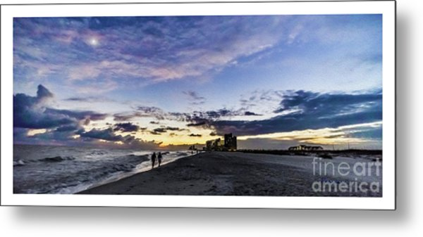 Moonlit Beach Sunset Seascape 0272b1 Metal Print