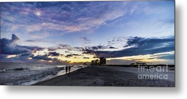 Moonlit Beach Sunset Seascape 0272c Metal Print