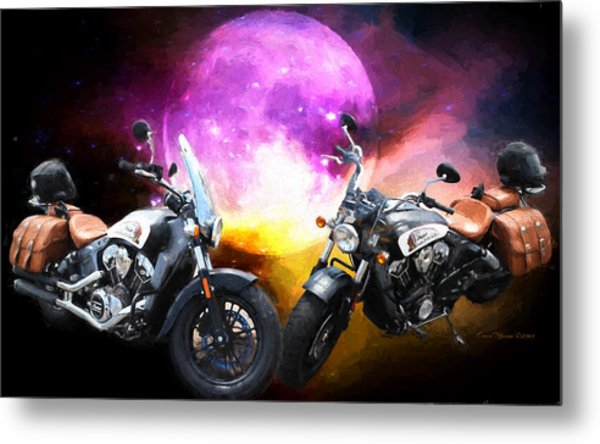 Moonlit Indian Motorcycle Metal Print