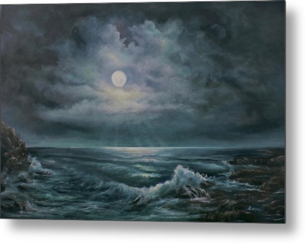 Metal Print featuring the painting Moonlit Seascape by Katalin Luczay