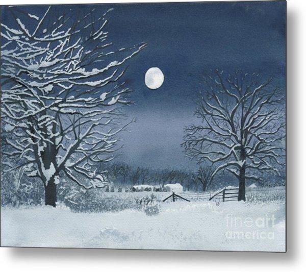 Moonlit Snowy Scene On The Farm Metal Print