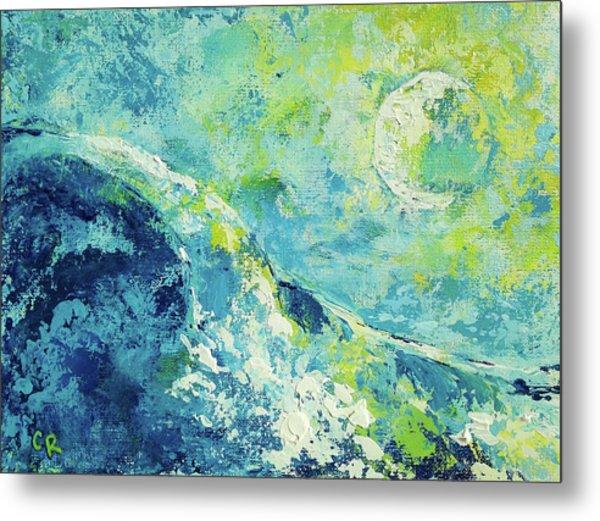 Moonlit Surf Metal Print