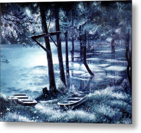 Moonlite On Village Creek Metal Print