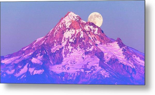 Moonrise Behind Mt. Hood Metal Print