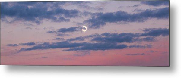Moonrise In Pink Sky Metal Print