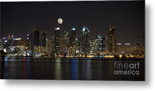Moonrise Over San Diego Metal Print