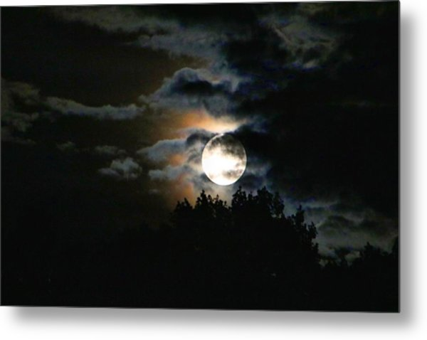 Moonset In The Clouds 2 Metal Print