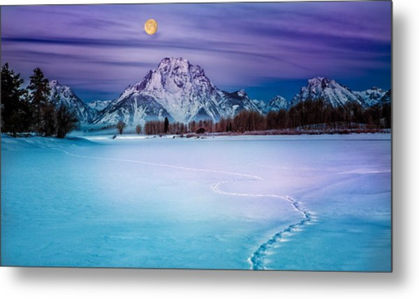 Moonset On Moran Metal Print
