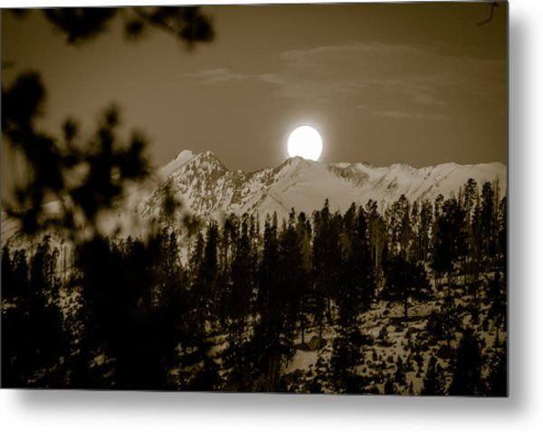 moonset over the Rockies Metal Print