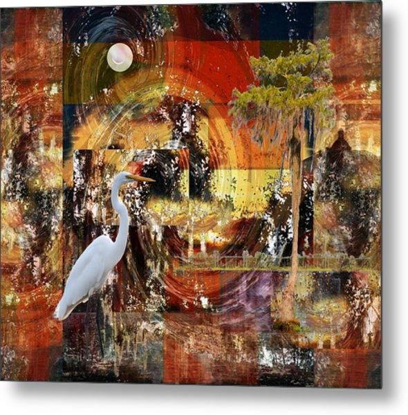 Moonshine Egret On Abstract Metal Print