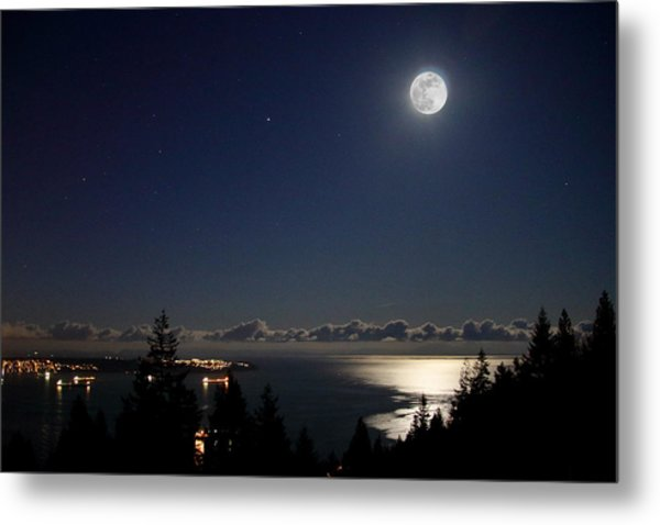 Moonshine Over English Bay Metal Print
