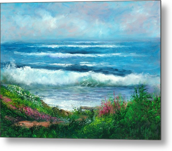 Moonstone Bench Metal Print by Sally Seago