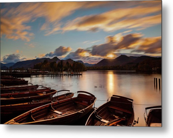 Moored Boats Derwent Water. Metal Print