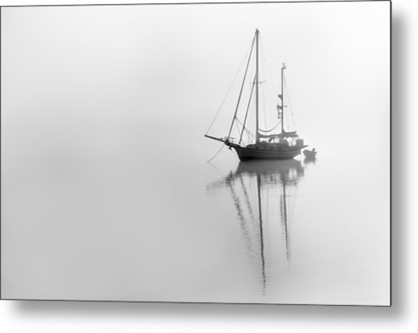 Moored On A Foggy Day Metal Print