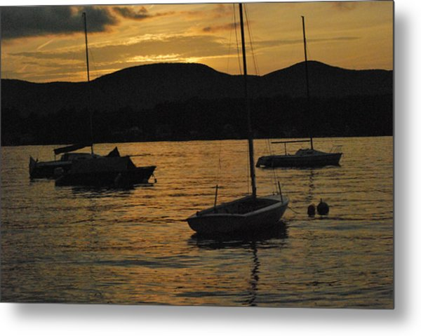 Moored Metal Print by Peter Williams
