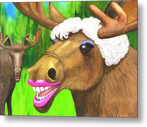 Moose Lips Metal Print