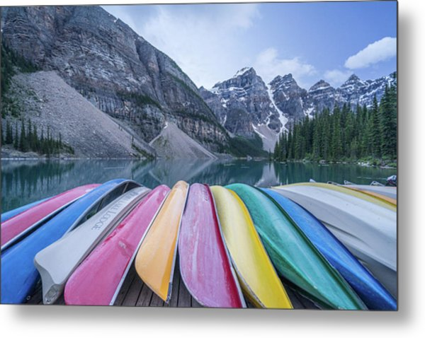 Moraine Lake Colors Metal Print
