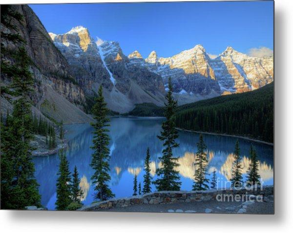 Moraine Lake Sunrise Blue Skies Metal Print