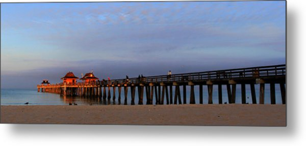Morning At The Naples Pier Metal Print