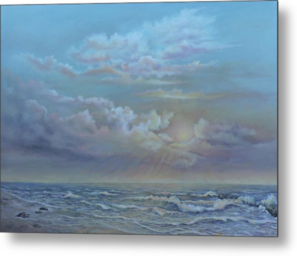 Metal Print featuring the painting Morning At The Ocean by Katalin Luczay