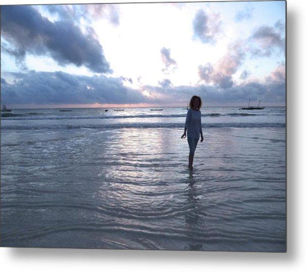 Morning Beach Walk Metal Print