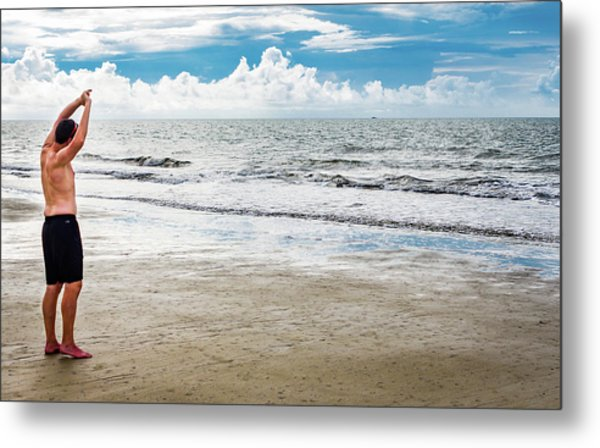 Morning Beach Workout Metal Print