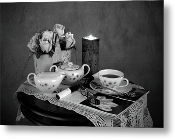 Morning Coffee And Reading Magazine Time Metal Print