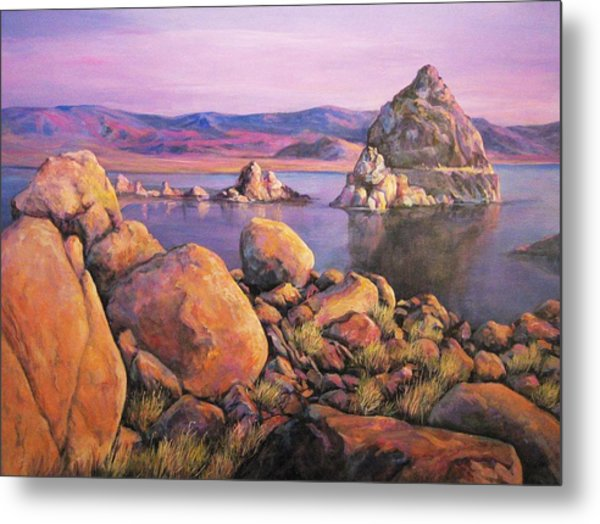 Morning Colors At Lake Pyramid Metal Print