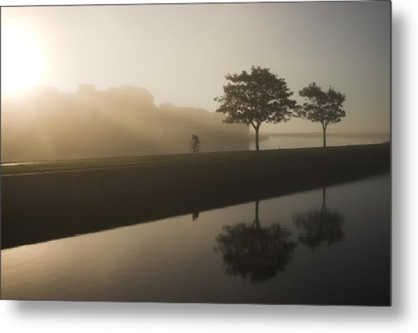 Morning Cycle Galway Ireland Metal Print