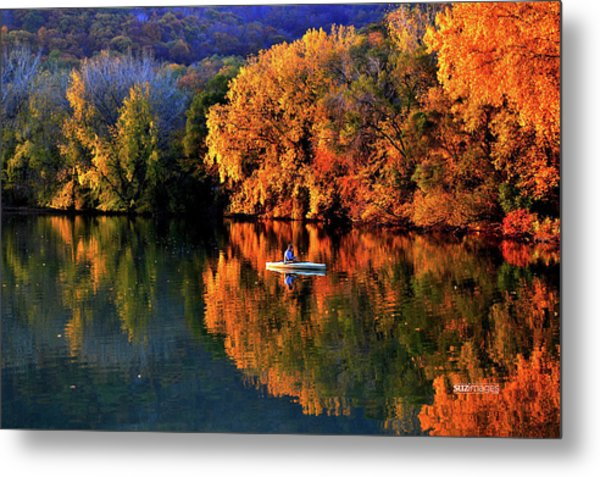Morning Fishing On Lake Winona Metal Print