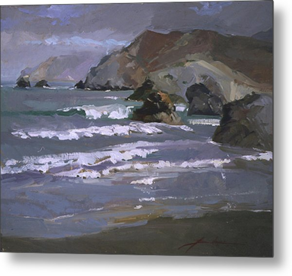 Morning Fog Shark Harbor - Catalina Island Metal Print