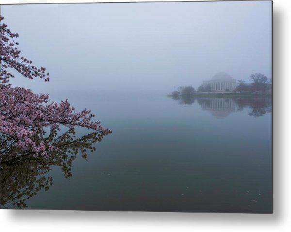 Morning Fog At The Tidal Basin Metal Print