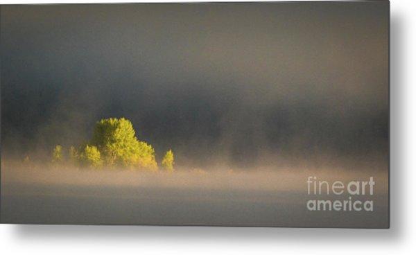 Morning Fog On Jackson Lake Grand Teton National Park  Metal Print