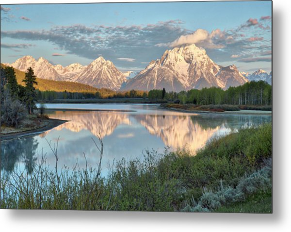 Morning Light At Oxbow Bend Metal Print