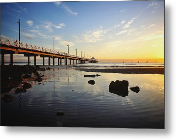 Morning Light Down By The Pier Metal Print