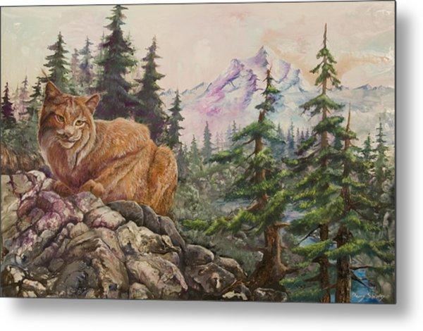 Morning Lynx Metal Print