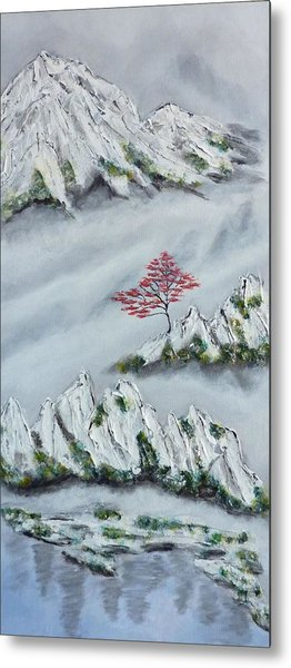 Metal Print featuring the painting Morning Mist 3 by Amelie Simmons