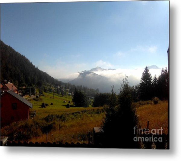 Morning Mist In The Magical Valley Metal Print