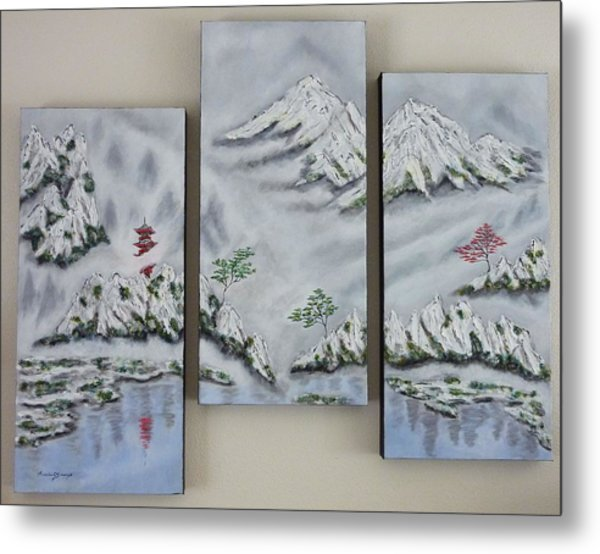 Morning Mist Triptych Metal Print