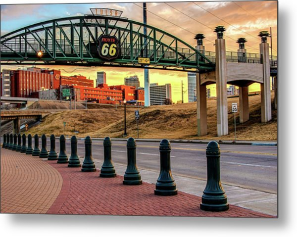 Metal Print featuring the photograph Rt 66 Sunrise - Tulsa Oklahoma's Route 66 Sign by Gregory Ballos