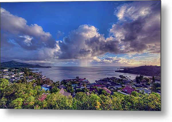 Morning Rain In Kaneohe Bay Metal Print