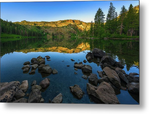 Morning Reflection On Castle Lake Metal Print