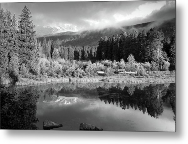 Morning Reflections - Black And White - Colorado Landscape Metal Print