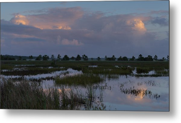 Morning Reflections Over The Wetlands Metal Print