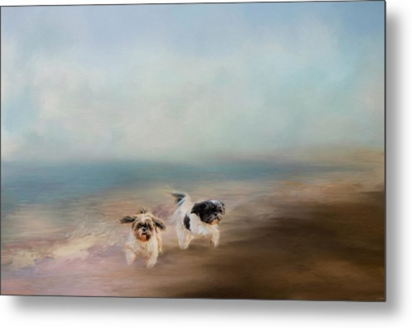 Morning Run At The Beach Metal Print