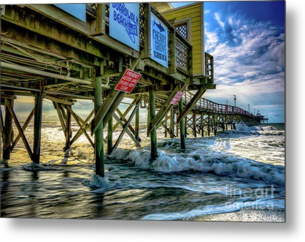 Morning Sun Under The Pier Metal Print