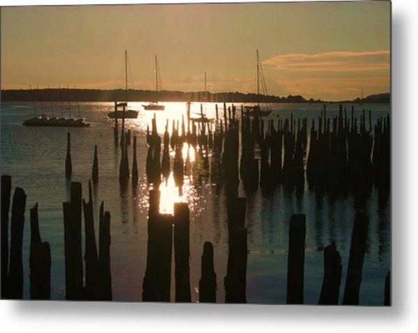 Morning Sunrise Over Bay. Metal Print by Dennis Curry