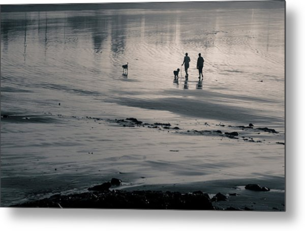 Morning Walk, Gooch's Beach, Kennebunk, Maine Metal Print