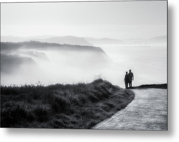 Morning Walk With Sea Mist Metal Print