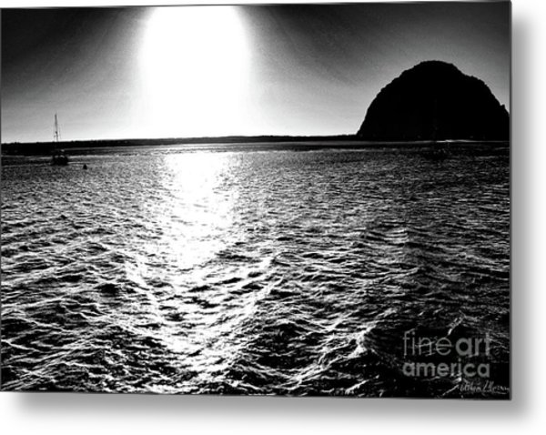 Morro Rock, Black And White Metal Print
